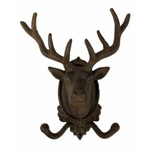 Rustic LARGE Cast Iron Red Stag Buck Deer 2 Hooks